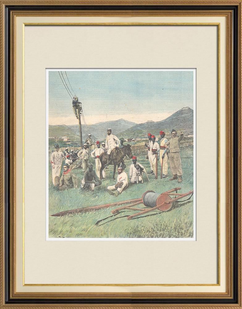 Gravures Anciennes & Dessins | Implantation d'une ligne télégraphique à Ghinda - Érythrée - 1896 | Gravure sur bois | 1896