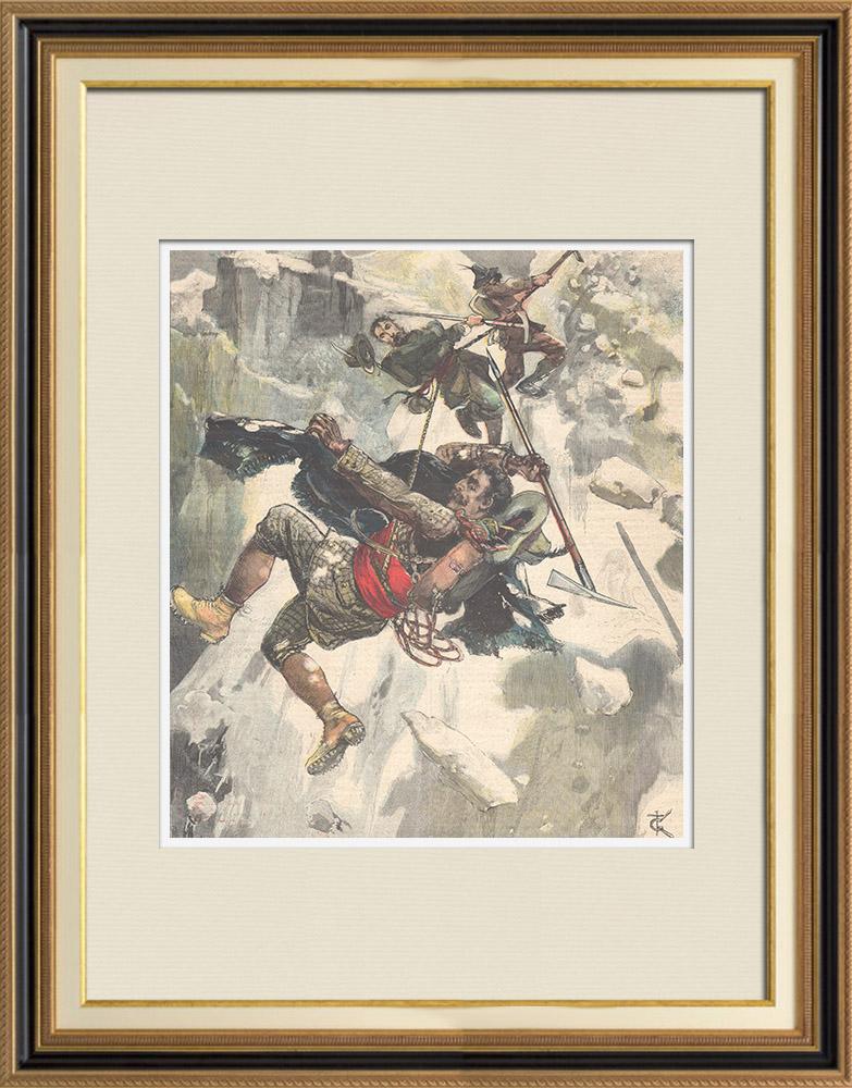 Gravures Anciennes & Dessins | Un mort dans les Alpes - Aiguille de la Grande Sassière à Valgrisenche - Italie - 1896 | Gravure sur bois | 1896