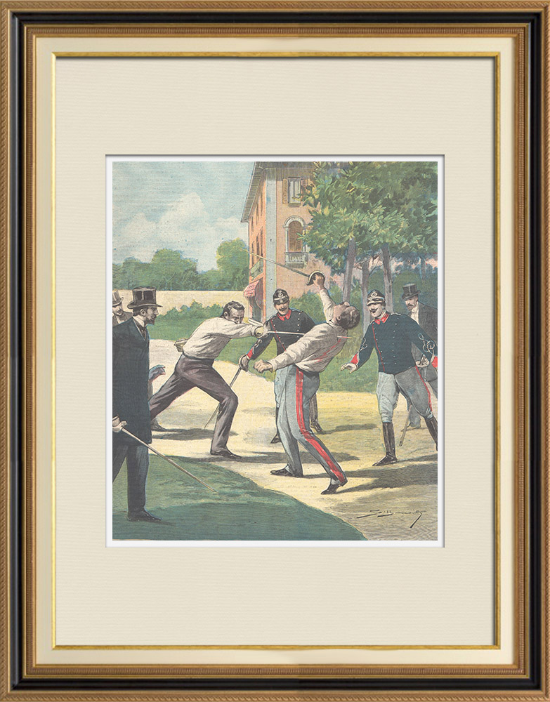 Antique Prints & Drawings | Duel at Savigliano - Piedmont - Italy - 1896 | Wood engraving | 1896