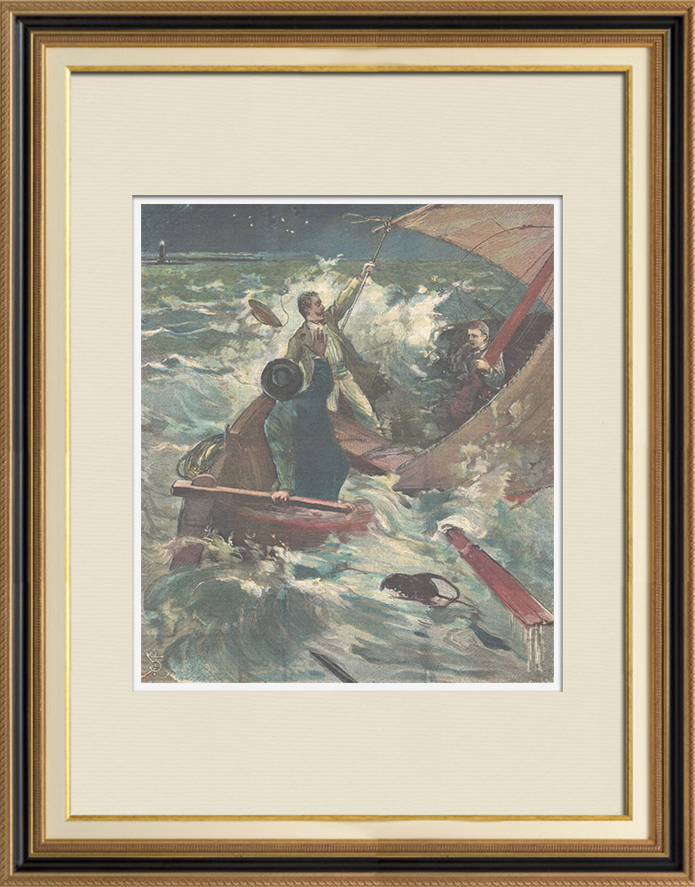 Antique Prints & Drawings | Shipwreck of a fishing boat in Livorno - Tuscany - Italy - 1896 | Wood engraving | 1896