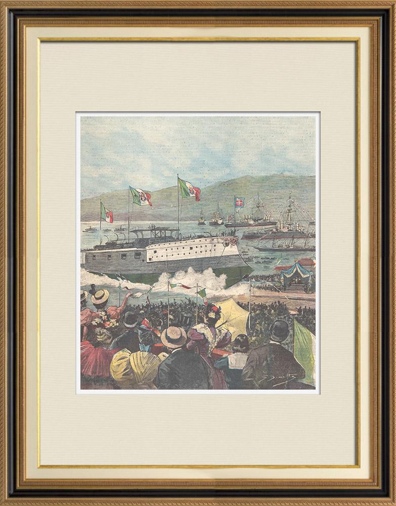 Antique Prints & Drawings | Launching of the Italian cruiser Carlo Alberto at La Spezia - Liguria - Italy - 1896 | Wood engraving | 1896