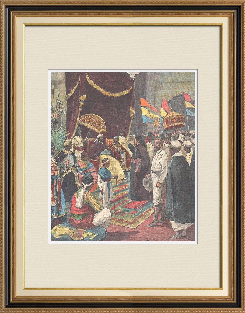 Antique Prints & Drawings | Bishop Macario brings Pope's letter to Menelik - Addis-Abeba - Ethiopia - 1896 | Wood engraving | 1896