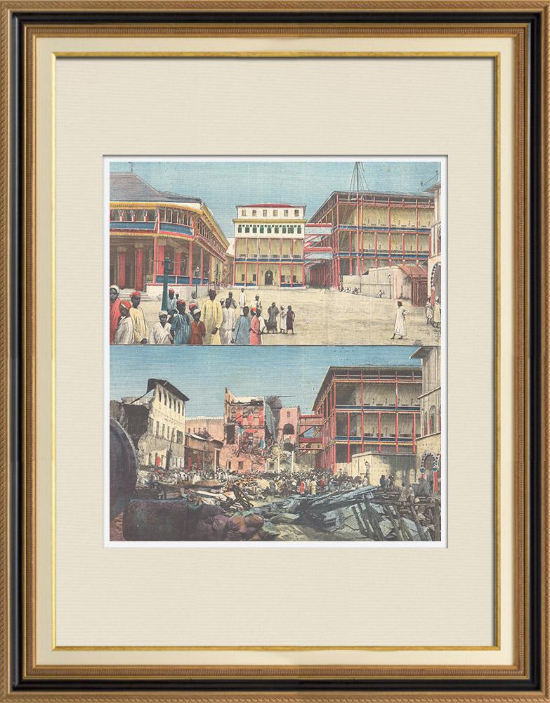 Antique Prints & Drawings | United Kingdom vs Zanzibar - Bombing of the Sultan's Palace - Sultanate of Zanzibar - 1896 | Wood engraving | 1896