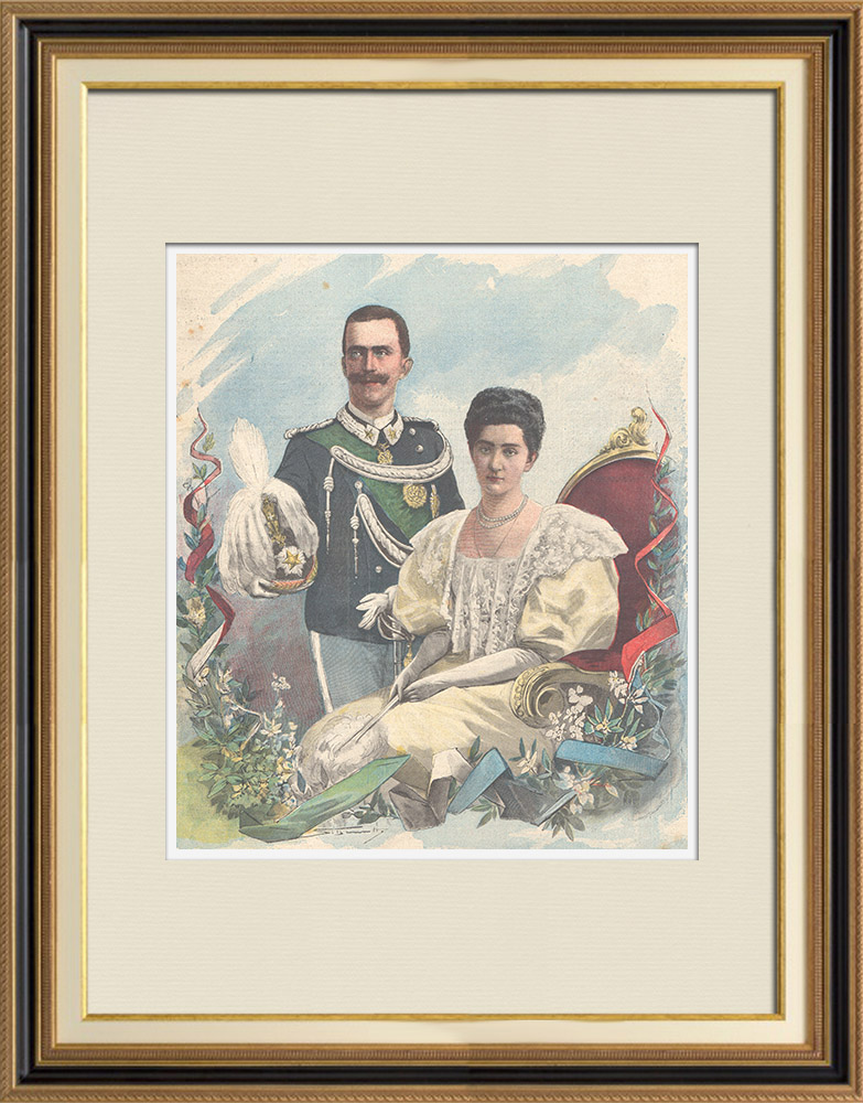 Antique Prints & Drawings | Portrait of the Prince of Naples and the Princess Elena of Montenegro | Wood engraving | 1896