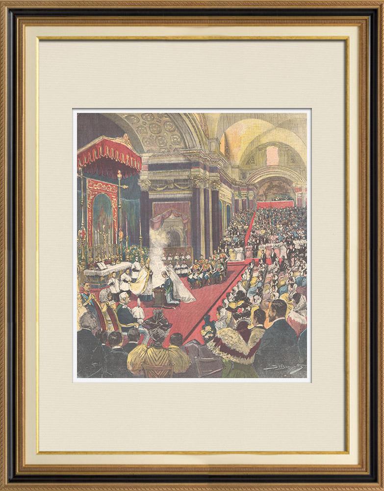Gravures Anciennes & Dessins | Mariage du Prince de Naples et la Princesse Elena - Cérémonie religieuse - Rome - 1896 | Gravure sur bois | 1896