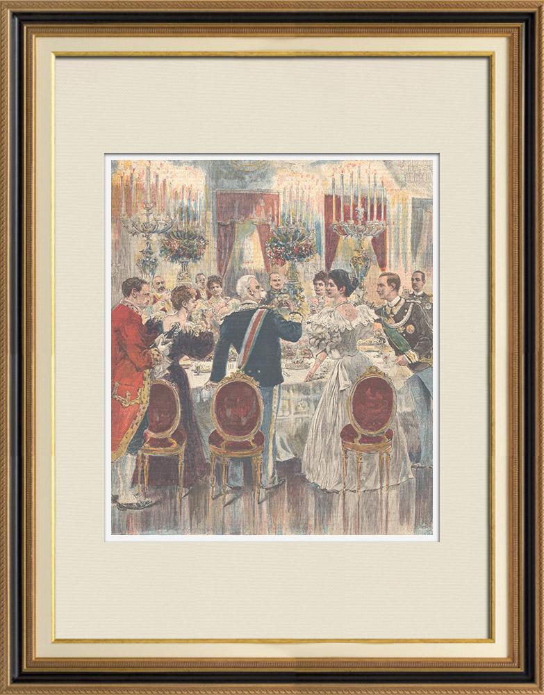 Gravures Anciennes & Dessins   Mariage du Prince de Naples et la Princesse Elena - Repas au Quirinal - Rome - 1896   Gravure sur bois   1896