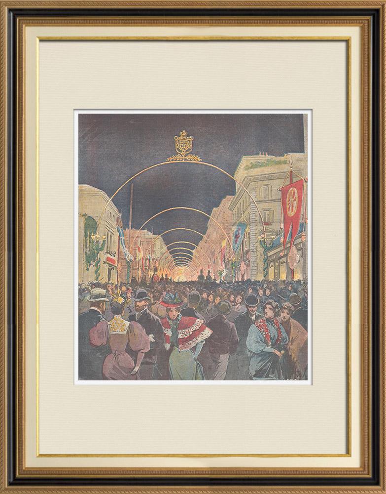 Gravures Anciennes & Dessins | Mariage du Prince de Naples et la Princesse Elena - Illuminations à Rome - 1896 | Gravure sur bois | 1896
