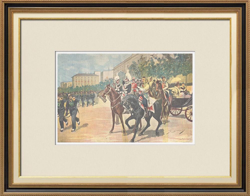 Gravures Anciennes & Dessins | Mariage du Prince de Naples et la Princesse Elena - Revue militaire - Rome - 1896 | Gravure sur bois | 1896