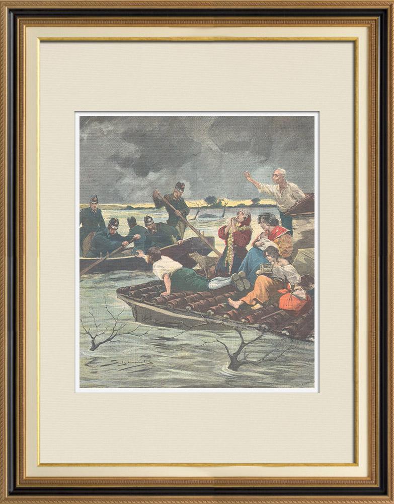 Gravures Anciennes & Dessins   Inondations dans la région de Ro Ferrarese - Ferrare - Italie - 1896   Gravure sur bois   1896