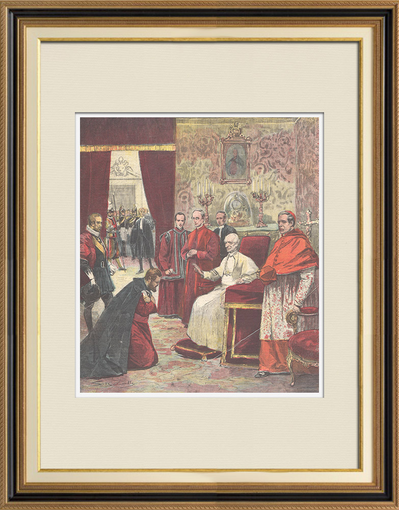 Antique Prints & Drawings | Bishop Macario presents Menelik's letter to the Pope - Vatican - 1896 | Wood engraving | 1896