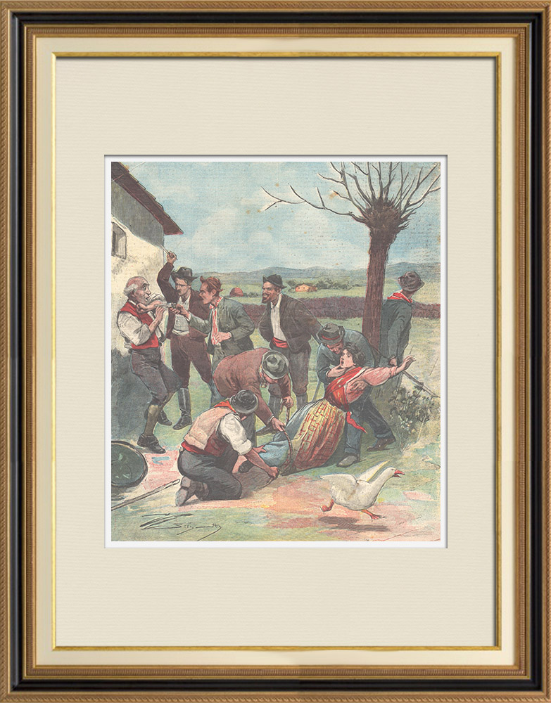 Antique Prints & Drawings | An abduction in Sant'Angelo dei Lombardi - Campania - Italy - 1896 | Wood engraving | 1896