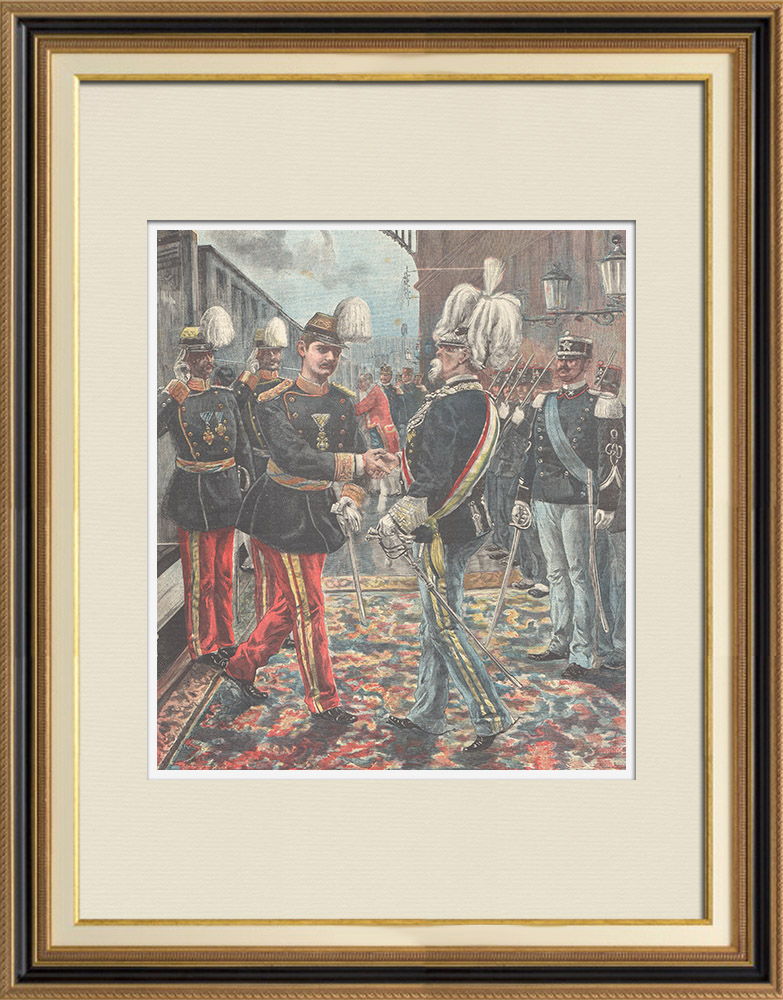 Antique Prints & Drawings | Arrival of Alexander I of Serbia at Rome - Italy - 1896 | Wood engraving | 1896