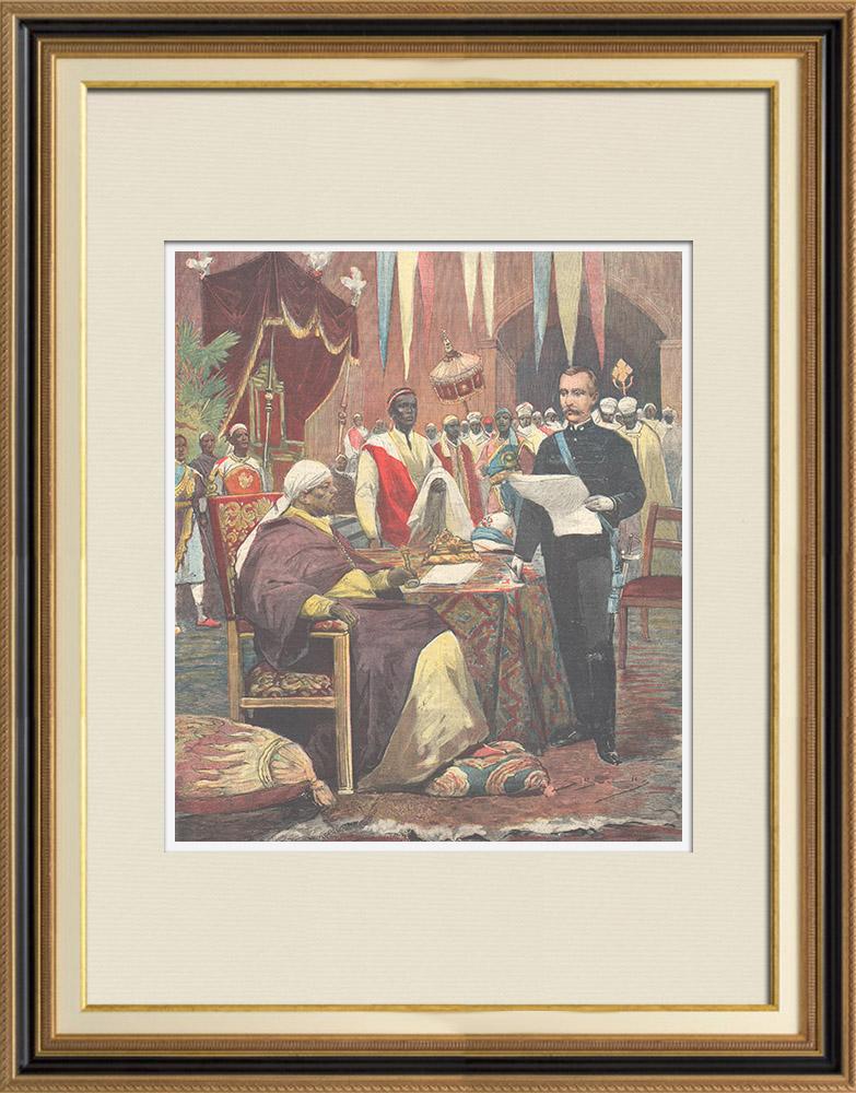 Gravures Anciennes & Dessins | Guerre italo-éthiopienne - Le major Nerazzini signe le traité de paix avec Menelik II - Addis Abeba - 1896 | Gravure sur bois | 1896