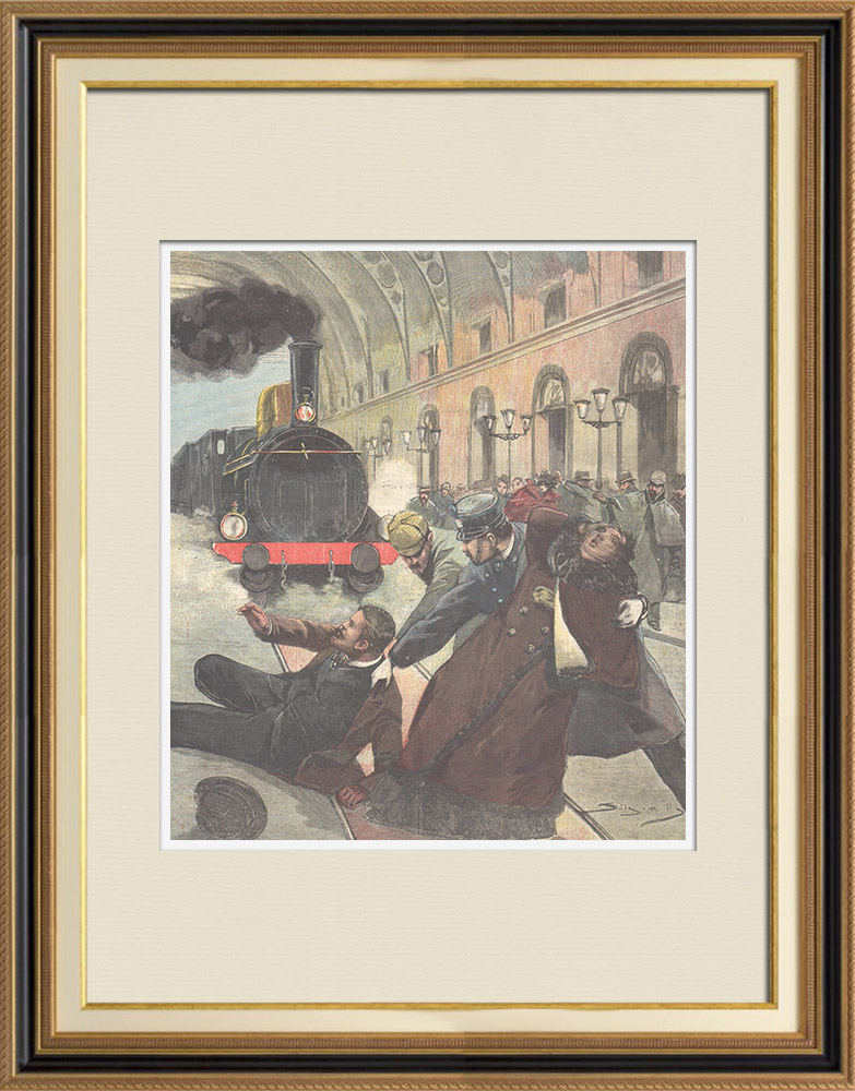 Antique Prints & Drawings | Act of heroism at the Vicenza station - Veneto - Italy - 1896 | Wood engraving | 1896