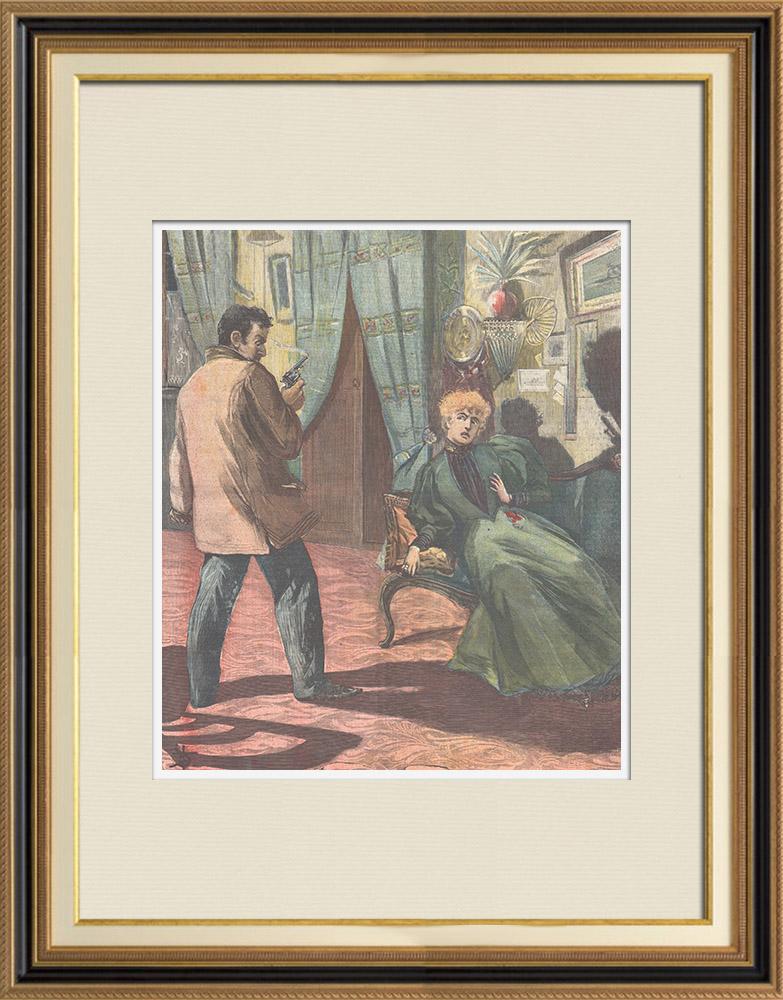 Gravures Anciennes & Dessins | Assassinat de la comtesse Lara, Evelina Cattermole - Rome - 1896 | Gravure sur bois | 1896
