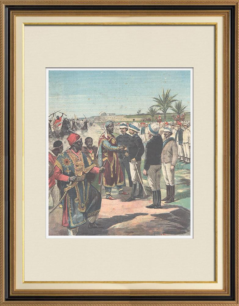 Gravures Anciennes & Dessins | Guerre italo-éthiopienne - Retour des prisonniers d'Afrique - Ethiopie - 1896 | Gravure sur bois | 1896