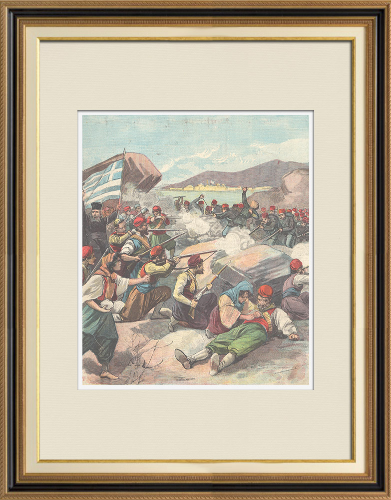 Antique Prints & Drawings   Events in Candia - Mutiny of the Turkish gendarmes in La Canea - Crète - 1897   Wood engraving   1897