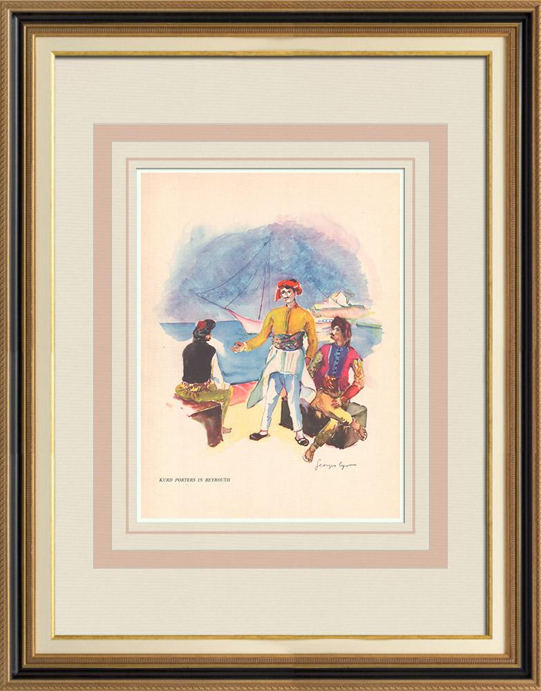 Antique Prints & Drawings   Kurd porters in Beirut - Lebanon - Near East   Print   1939