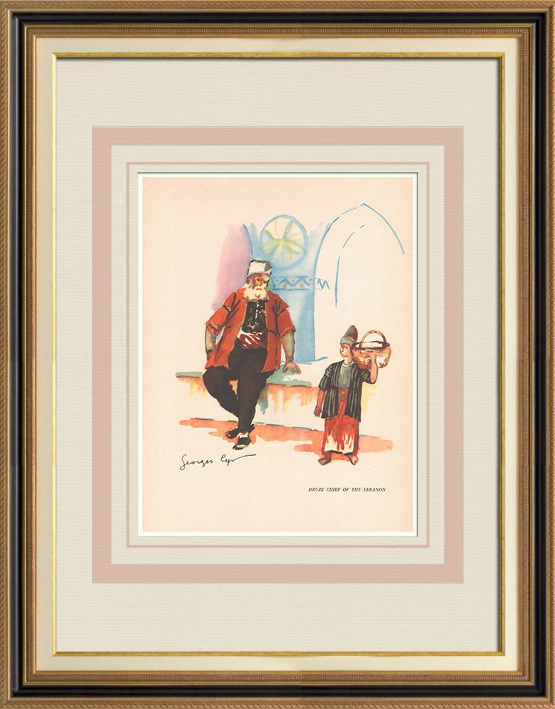 Gravures Anciennes & Dessins | Chef Druze du Liban - Proche-Orient | Impression | 1939