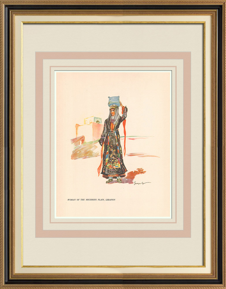 Antique Prints & Drawings   Woman from the plain of Mechref - Lebanon - Near East   Print   1939