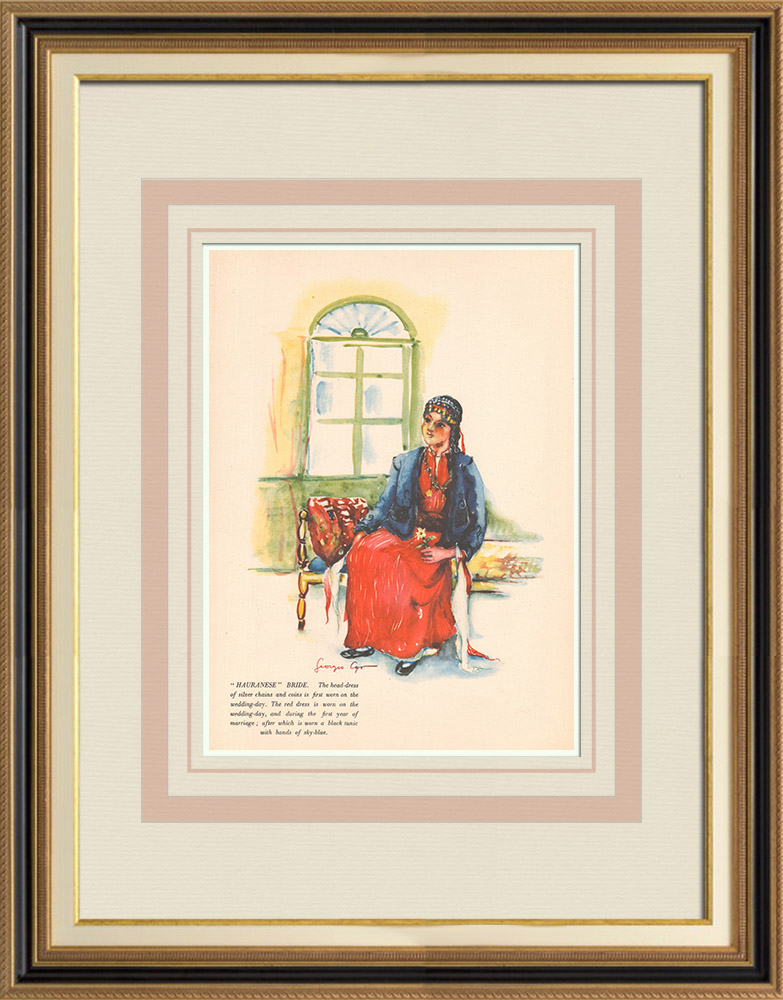 Antique Prints & Drawings | Hauranese bride - Syrian Costume - Syria - Occidental Asia | Print | 1939