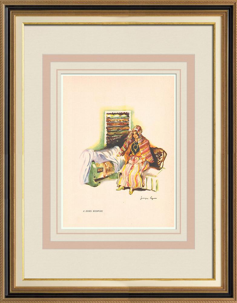 Gravures Anciennes & Dessins | Sage-femme de Homs - Syrie - Asie Occidentale | Impression | 1939
