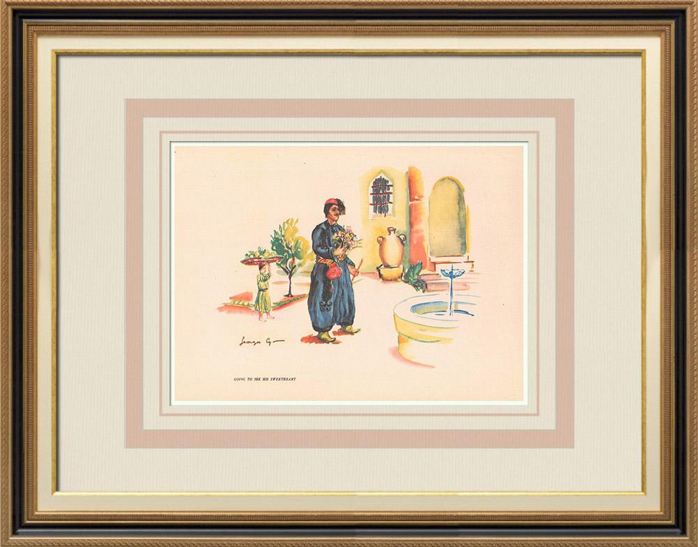Gravures Anciennes & Dessins | Homme de Bcharré allant voir sa bien-aimée - Liban - Proche-Orient | Impression | 1939