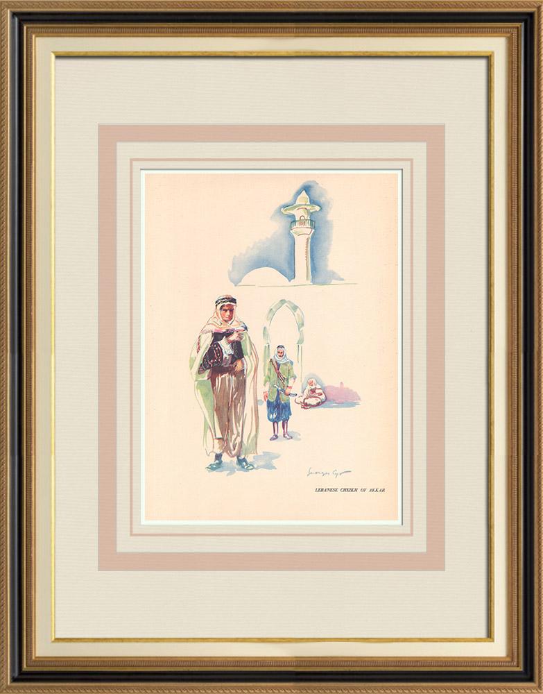 Gravures Anciennes & Dessins   Cheikh libanais d'Akkar - Liban - Proche-Orient   Impression   1939