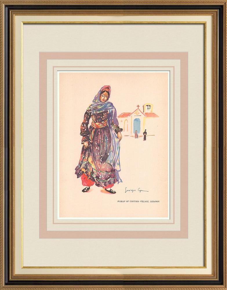 Antique Prints & Drawings | Woman from Cortaba-village - Lebanon - Near East | Print | 1939