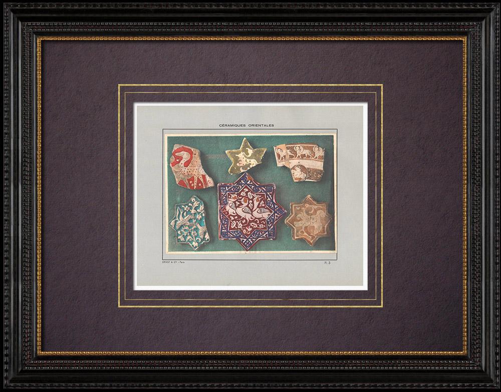 Gravures Anciennes & Dessins | Céramiques orientales - étoiles - Perse - XIII et XIVe siècle | Impression | 1920