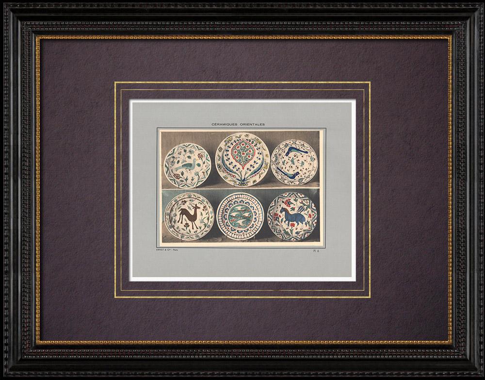 Gravures Anciennes & Dessins | Céramiques orientales - Assiettes - Rhodes et Damas - XVI et XVIIe siècle | Impression | 1920