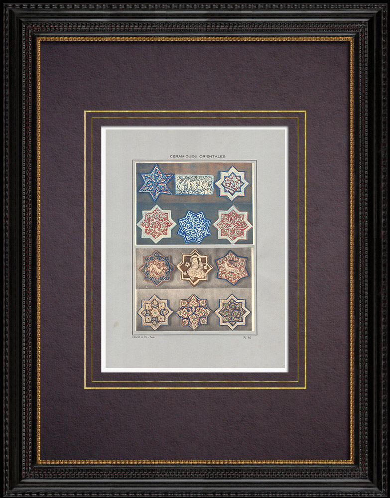 Gravures Anciennes & Dessins | Céramiques orientales - Motifs - étoiles - Perse - XIII et XIVe siècle | Impression | 1920