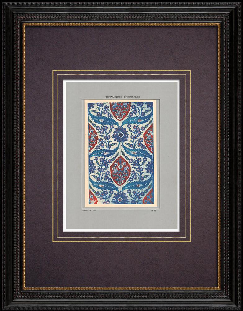 Antique Prints & Drawings | Oriental ceramics - Tiles - Faience - Asia Minor - XVIth Century | Print | 1920