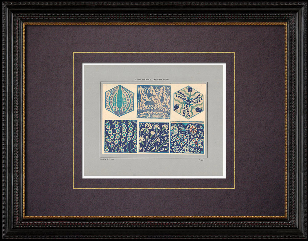 Gravures Anciennes & Dessins | Céramiques orientales - Carrelage - Damas - XVIème Siècle - XVIIème Siècle | Impression | 1920