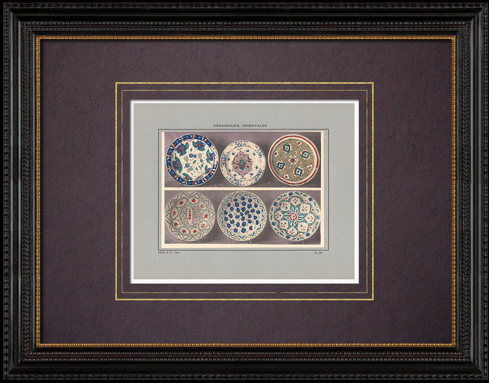 Antique Prints & Drawings   Oriental ceramics - Dishes - Asia Minor - XVIIth Century   Print   1920