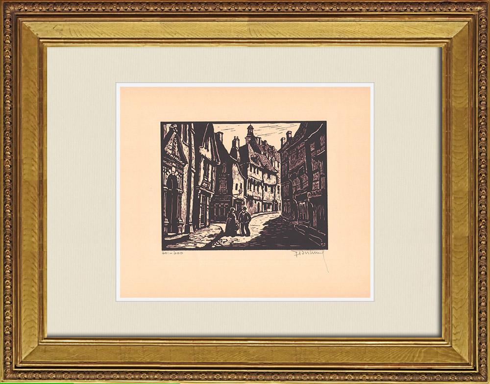 Gravures Anciennes & Dessins | Vue de Montluçon - Place Saint-Pierre - Église Saint-Pierre - Allier (France)  | Gravure sur bois | 1935