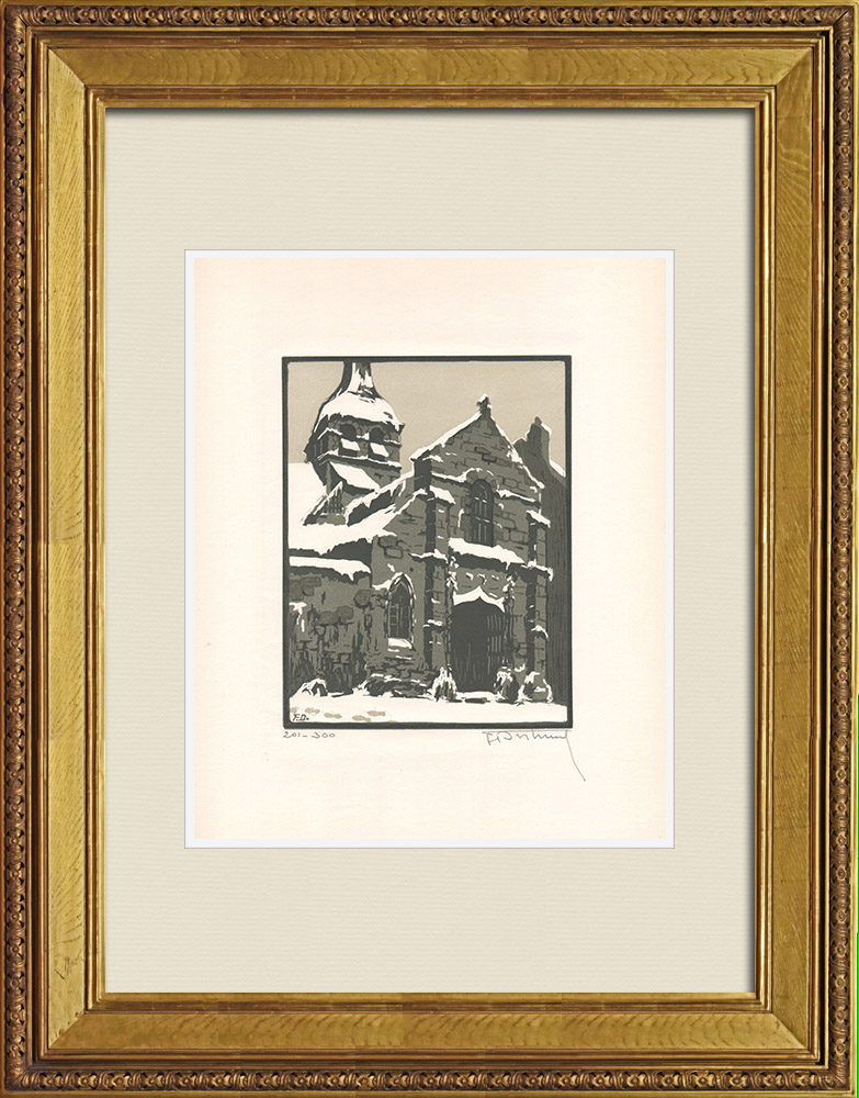 Antique Prints & Drawings   View of Montluçon - St. Peter's Church under the snow - Allier (France)   Wood engraving   1935