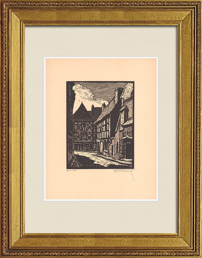 Gravures Anciennes & Dessins | Vue de Montluçon - Rue des Cinq-Piliers - Allier (France) | Gravure sur bois | 1935