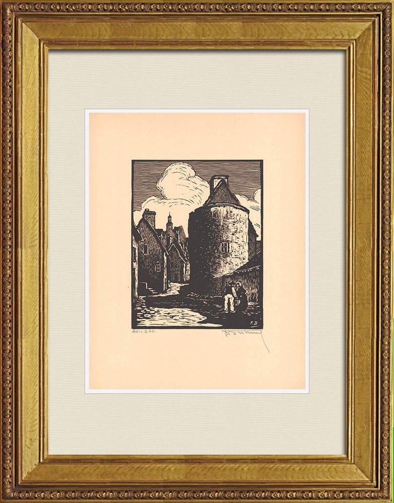 Antique Prints & Drawings | View of Montluçon - Tour Fouquet - Allier (France) | Wood engraving | 1935