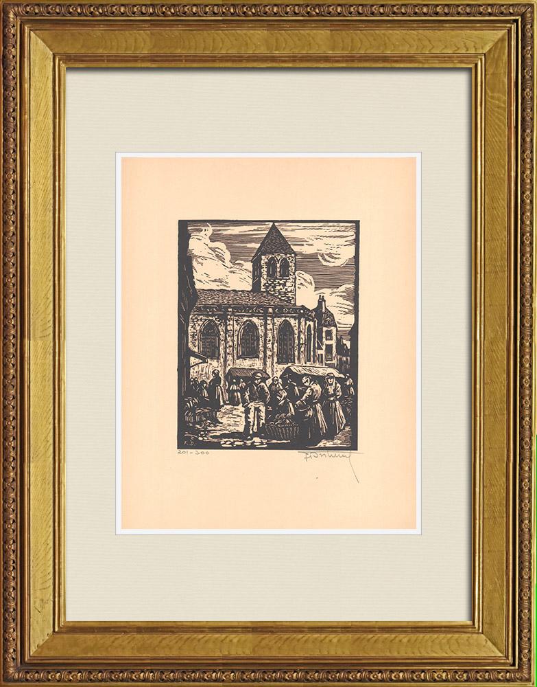 Antique Prints & Drawings | View of Montluçon - Market - Allier (France) | Wood engraving | 1935