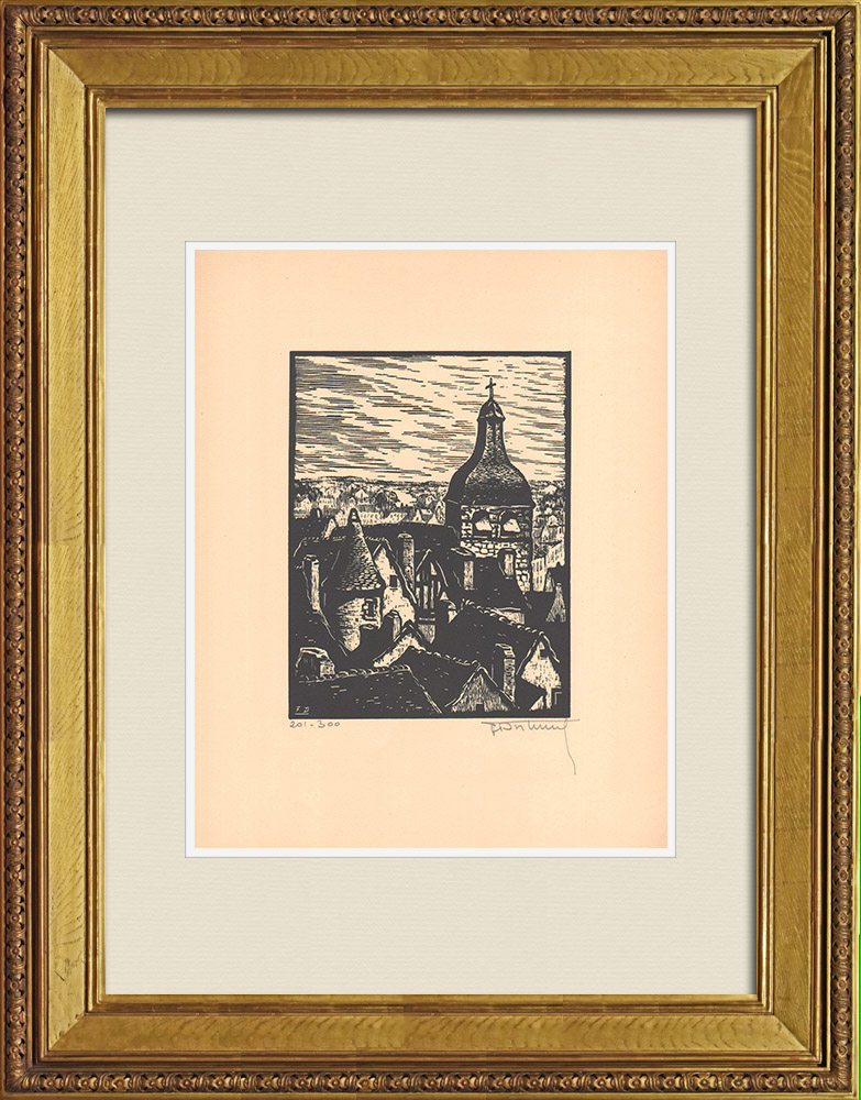 Antique Prints & Drawings   View of Montluçon - Old gables - Allier (France)   Wood engraving   1935