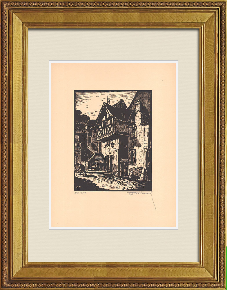 Antique Prints & Drawings | View of Montluçon - Old houses - Allier (France) | Wood engraving | 1935