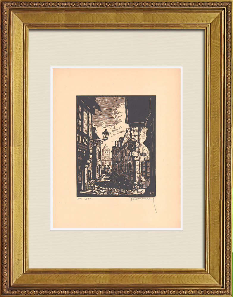 Antique Prints & Drawings   View of Montluçon - Grand'rue - Allier (France)   Wood engraving   1935