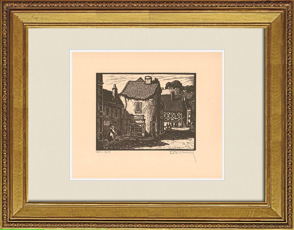 Gravures Anciennes & Dessins | Vue de Montluçon - Rue Porte-Bretonni - Allier (France) | Gravure sur bois | 1935