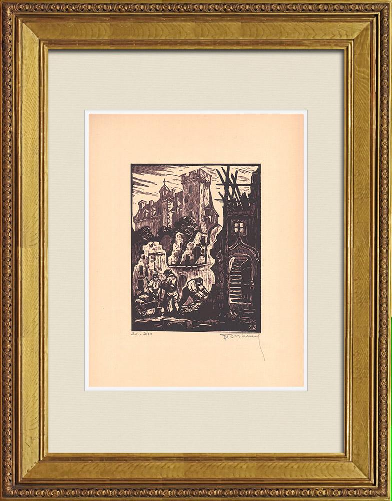 Gravures Anciennes & Dessins | Vue de Montluçon - Rue des Serruriers - Allier (France) | Gravure sur bois | 1935