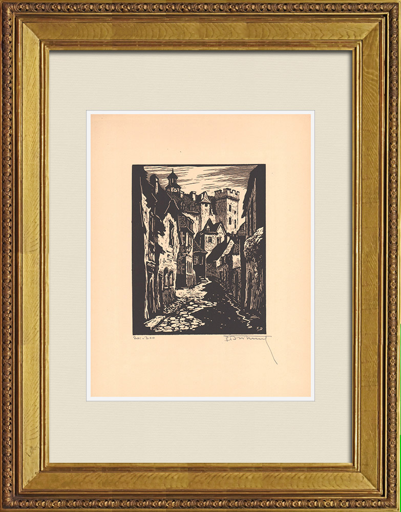 Grabados & Dibujos Antiguos | Vista de Montluçon - Rue Saint-Roch - Allier (Francia) | Grabado xilográfico | 1935