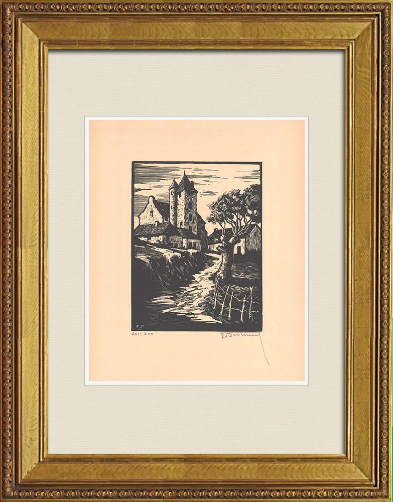 Gravures Anciennes & Dessins | Château de Bien-Assis - Montluçon - Allier - Auvergne (France) | Gravure sur bois | 1935