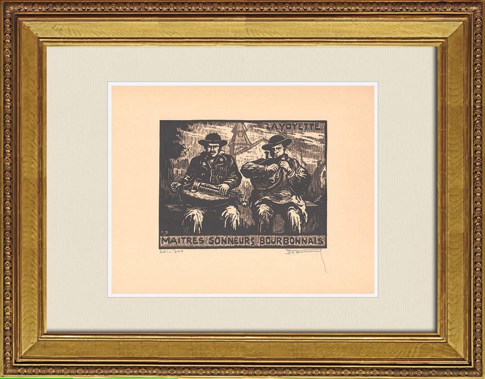 Antique Prints & Drawings | Maîtres Sonneurs - Bourbonnais - Musicians - Bagpipes - Bagpiper - Regional Costumes (France) | Wood engraving | 1935