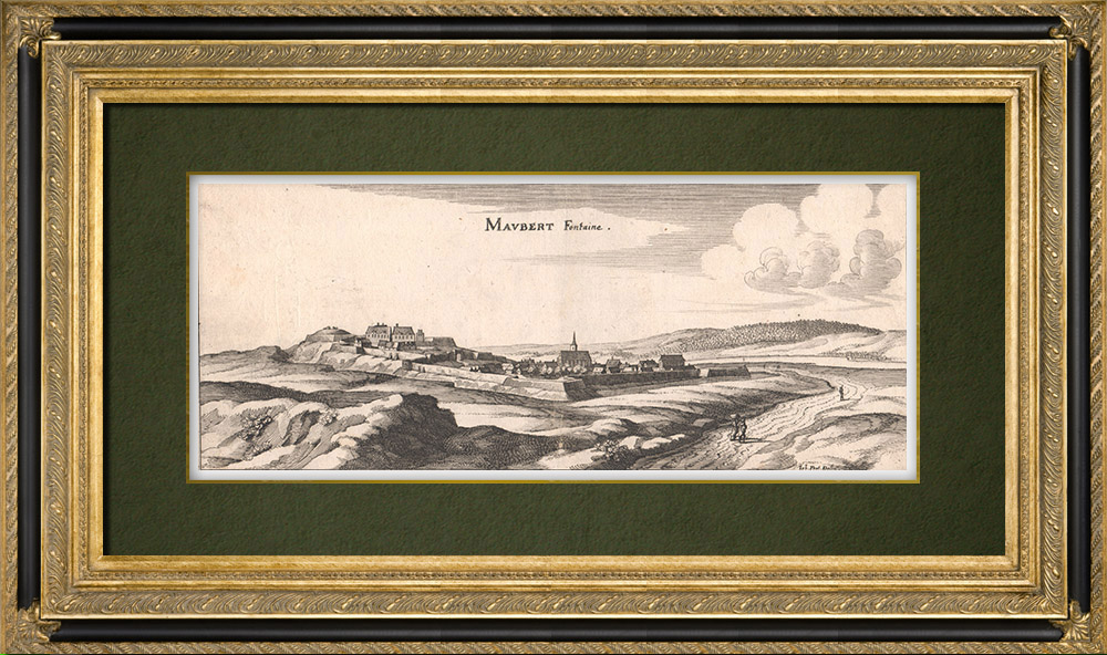 Antique Prints & Drawings   View of the city of Maubert-Fontaine in the 17th century - Ardennes (France)   Copper engraving   1661