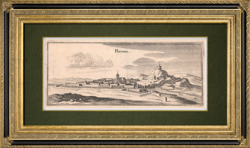 Antique Prints & Drawings   View of the city of Rethel in the 17th century - Ardennes (France)   Copper engraving   1661